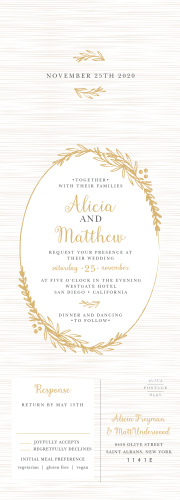 Gentle laurels decorate the cover of our Delicate Laurel Foil Seal & Send Wedding Invitations, framing the text of your invitation with gorgeous gold-foil foliage.