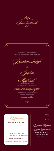 Invite guests to your posh event with Elegant Script Foil Seal & Send Wedding Invitations.