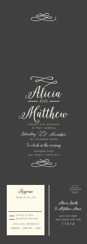 The Whimsical Calligraphy Seal & Send Wedding Invitations are simple with a modern, swirling script