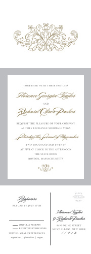 A grand, old gold, ornate design decorates the front flap, giving your guests a taste of the elegance awaiting them inside, where a tasteful, traditional script continues the decorum of the Vintage Damask Seal & Send Wedding Invitations without overdoing it!