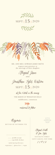 Adorned with beautifully colored autumn foliage, our Fall Harvest Seal & Send Wedding Invitations are the perfect choice for your lovely fall wedding!