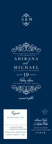 Rich navy blue and beautiful silver come together to make our Royal Scrolls Seal & Send Wedding Invitations as unforgettable as your wedding itself.