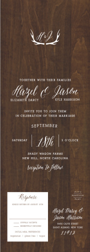 Dark walnut wood forms the background for our beautiful Rustic Wood Seal & Send Wedding Invitations.
