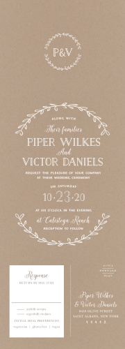 Gently encircled by a rustic wreath and written on a kraft paper background, our Rustic Love Seal & Send Wedding Invitations are beautiful representations of your upcoming wedding.