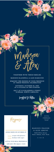 A rich navy blue background creates the perfect setting for a collection of lovely florals and the gold-foil title and outline on our Standing Ovation Foil Seal & Send Wedding Invitations.