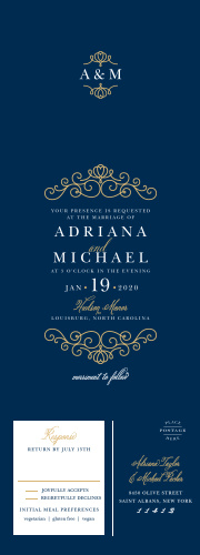 A rich navy-blue and gold-foil design sets the tone for your elegant wedding on our Royal Scrolls Foil Seal & Send Wedding Invitations.