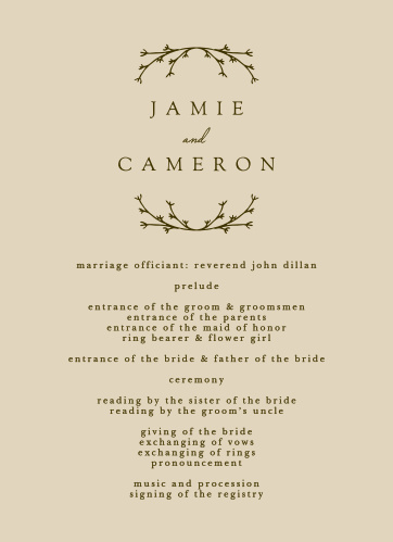 Our Charming Twig Wedding Programs are a wonderful choice for outlining your special day!