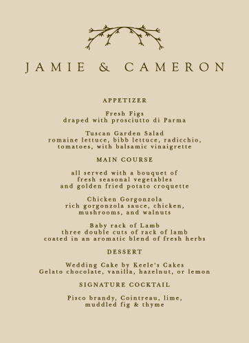 No matter what you're serving, make your guests' mouths water with our Charming Twig Wedding Menus!
