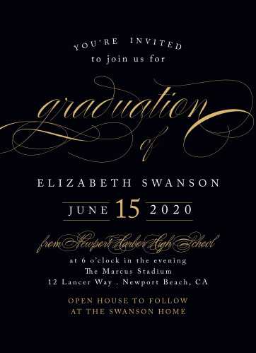 Our Sophisticated Swash Graduation Invitations offer a gorgeous combination of classic elegance and modern sophistication for your big day.