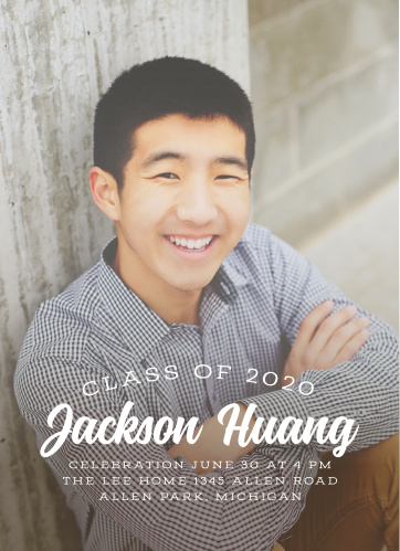 Your choice of photo decorates the background of our Streaming Senior Graduation Invitations- with a collection of solid white text flowing across its surface to ensure that the details are as easy to read as possible, these cards guarantee that you spend your big day surrounded by the people you care about most.