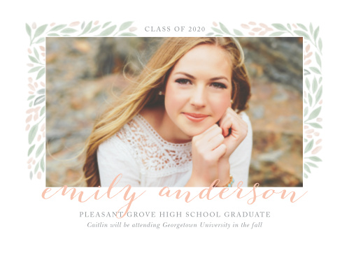 A gorgeous assortment of green and bronze leaves surround your choice of photo on the Botanical Frame Graduation Announcements.