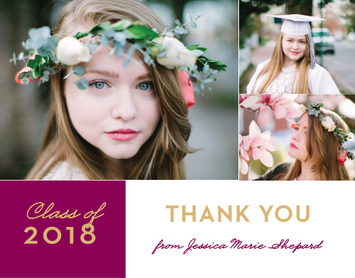 """Featuring the same gorgeous banner in dark pink and bright gold, our Banner Year Graduation Thank You Cards are a beautiful way to say """"thanks"""" to everyone who attended."""