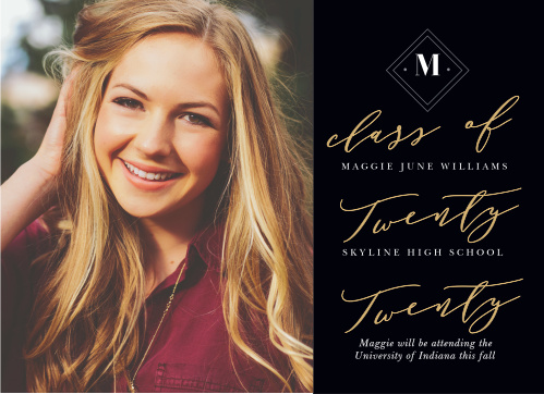 A gorgeous collection of typefaces cover your Class Script Graduation Announcements in tasteful text on the righthand side, while a larger-than-life photo of your graduate decorates the left.
