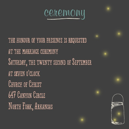 The Mason Jars and Fireflies Ceremony Cards