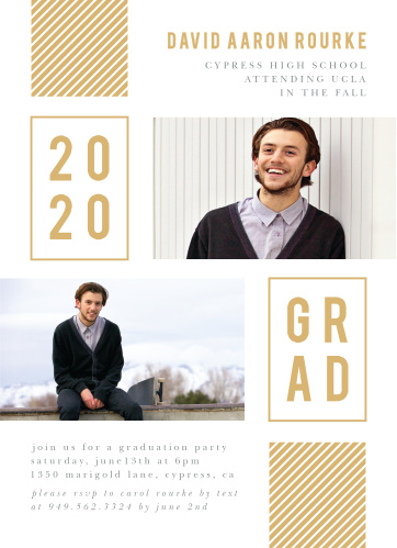 Complete with a duo of photos, a striped golden banner, and bold text, our Striped & Stacked Graduation Invitations are perfect for guaranteeing the attendance of the people you love most.
