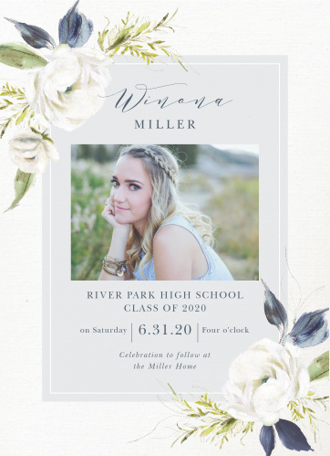 Choose the vintage beauty of our Oil Paint Textured Graduation Invitations. Gorgeous, blooming white roses decorate the opposite corners of the card, growing to cover part of the inner section.