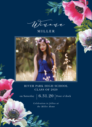 Vivid pink flowers bloom from the outer corners of our Vibrant Anemone Graduation Invitations, growing steadily in toward the center of the card where the photo of your graduate lies.
