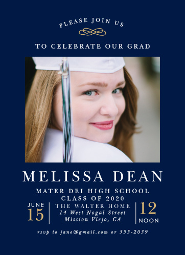 On a background the color of deep sapphire, our Classical Collegian Graduation Invitations offer a beautiful look for your graduation invitations.