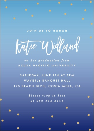 Our Dainty Dots Graduation Invitations feature a gentle gradient as their background, slowly fading from light blue to a deep purple as the card progresses.