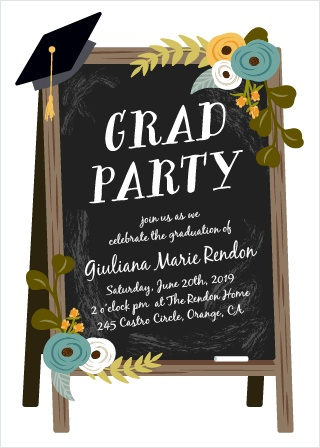 Our Chalkboard Art Graduation Invitations are a gorgeous way to gather together your friends and family for the big day.
