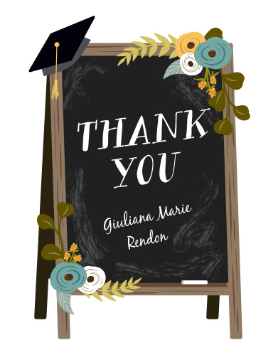 The gratitude written on our Chalkboard Art Graduation Thank You Cards is bold and bright, standing out sharply against the sidewalk chalkboard it's scrawled across.