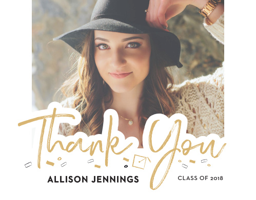 Celebrate your many loved ones with our stylish and exciting Lettered Overlay Graduation Thank You Cards.