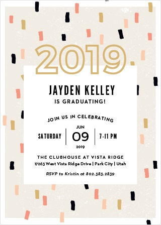 Start off your celebrations with our exciting Confetti Party Graduation Invitations.