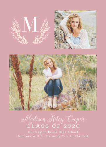 Our Pretty In Pink Graduation Announcements feature a delicate laurel monogram colored in a light coral pink.