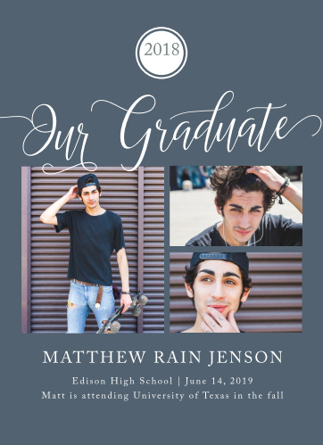 Select three of your best senior portraits for the Our Grad Graduation Announcements.