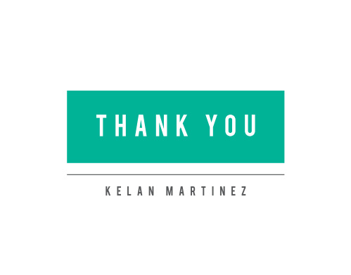 Our Modern Tag Graduation Thank You Cards are simple and clean, using only a splash of color with a minty green tag stating your class gratitude for its design.