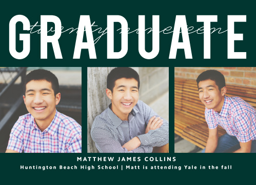 Choose our classically designed and multi photo Triple Play Graduation Announcements to show off your accomplishments!