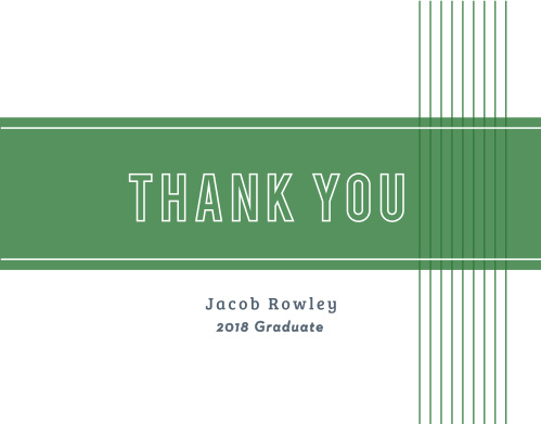 Go for a more traditional design with our School Banner Graduation Thank You Cards.