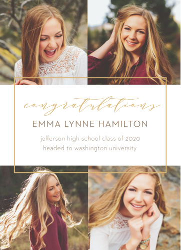 Show your friends and family all that you've accomplished with our elegantly designed Simply Framed Graduation Announcements.