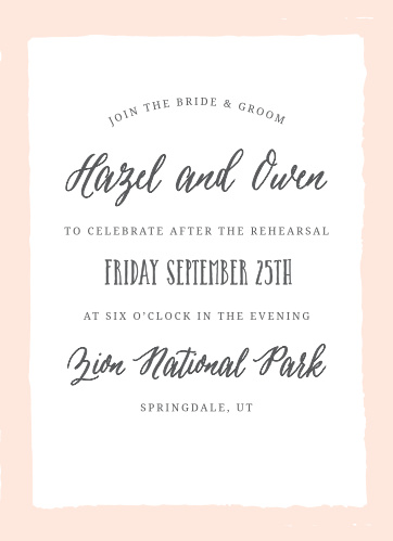 The Painted Border Rehearsal Dinner Invitation sports a quaintly simple yet distinct border