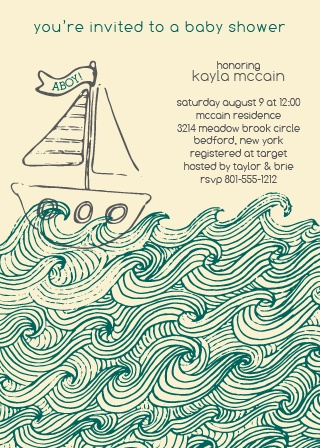 """Aboy!"" See what we did there?  This little sailor baby shower invite will fit perfectly with your nautical themed shower."