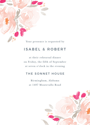 The Watercolor Bouquet Rehearsal Dinner Invitation is romantic with its soft watercolor blooms