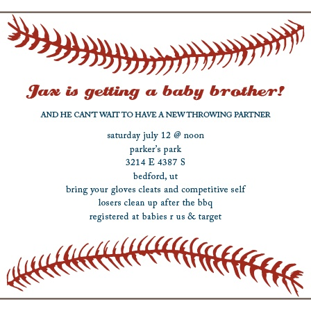 Baseball BBQ Baby Shower Invitation