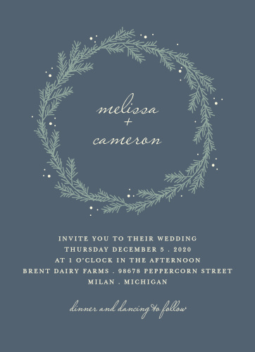 For a beautiful invitation befitting the elegance of your wedding plans, look no further than our Evergreen Wreath Wedding Invitations.