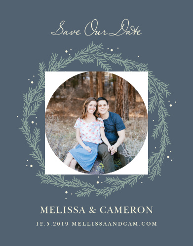 For a beautiful card befitting the elegance of your wedding plans, look no further than our Evergreen Wreath Save-the-Date Cards.