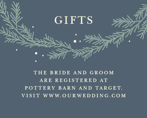 Our Evergreen Wreath Registry Cards utilize the same gorgeous design and color scheme as several other cards in the Evergreen Wreath wedding suite.
