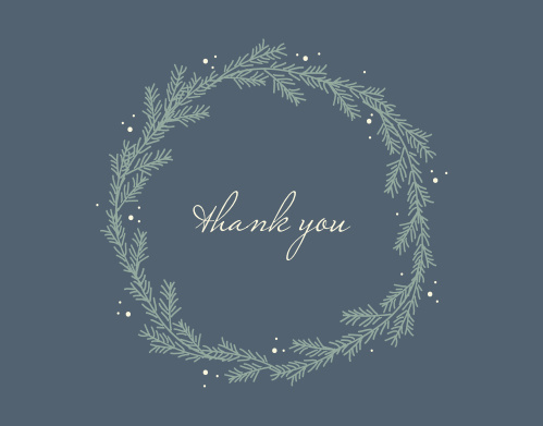 Our Evergreen WreathThank You Cards utilize the same gorgeous design and color scheme as several other cards in the Evergreen Wreath wedding suite.