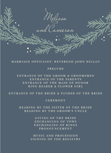Our Evergreen Wreath programs utilize the same gorgeous design and color scheme as several other cards in the Evergreen Wreath wedding suite.