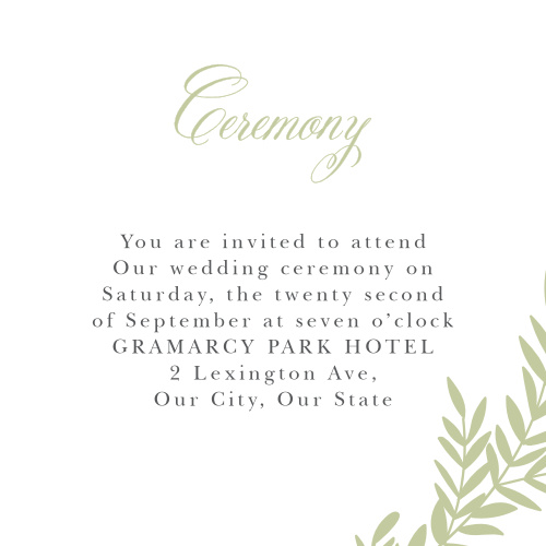 Our Blissful Boughs Ceremony Cards utilize the same gorgeous design and color scheme as several other cards in the Blissful Boughs wedding suite.