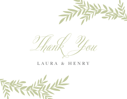 Our Blissful Boughs Wedding Thank You Cards utilize the same gorgeous design and color scheme as several other cards in the Blissful Boughs wedding suite.