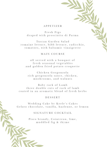 Our Blissful Boughs Wedding Menus utilize the same gorgeous design and color scheme as several other cards in the Blissful Boughs wedding suite.