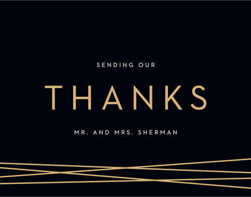 Our Cross Over Thank You Cards utilize the same gorgeous design and color scheme as several other cards in the Cross Over wedding suite.