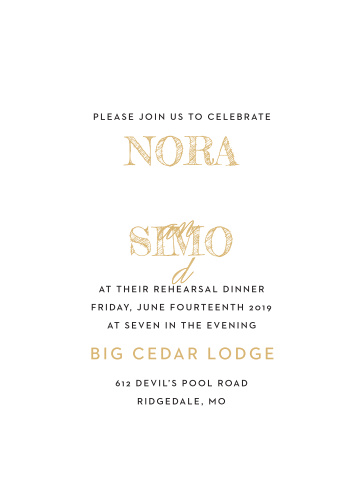 Our gorgeous Deco Type Foil Rehearsal Dinner Invitations are perfect for planning out every detail of your wedding.