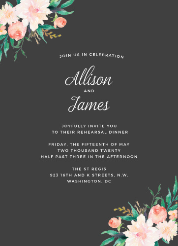 Our Blossoming Love Rehearsal Dinner Invitations feature gorgeous blooms in opposing corners, a carefully written calligraphy, and a classic print.