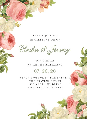 Make sure that everything is going to go off without a hitch using our gorgeous Alluring Florals Rehearsal Dinner Invitations.