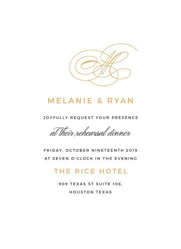 Ensure that everything goes perfectly on your wedding day with a rehearsal dinner, and gather everyone together using our stunning Charmed Monogram Rehearsal Dinner Invitations.